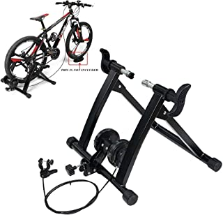Portable Bike Trainer Stand Indoor 7 Levels of Resistance Magnetic Stand with Noise Reduction Wheel