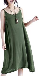 YESNO JEL Women Casual Loose Slip T-Shirt Dresses Beach Cover up Plain Dress A Skirt Hemline