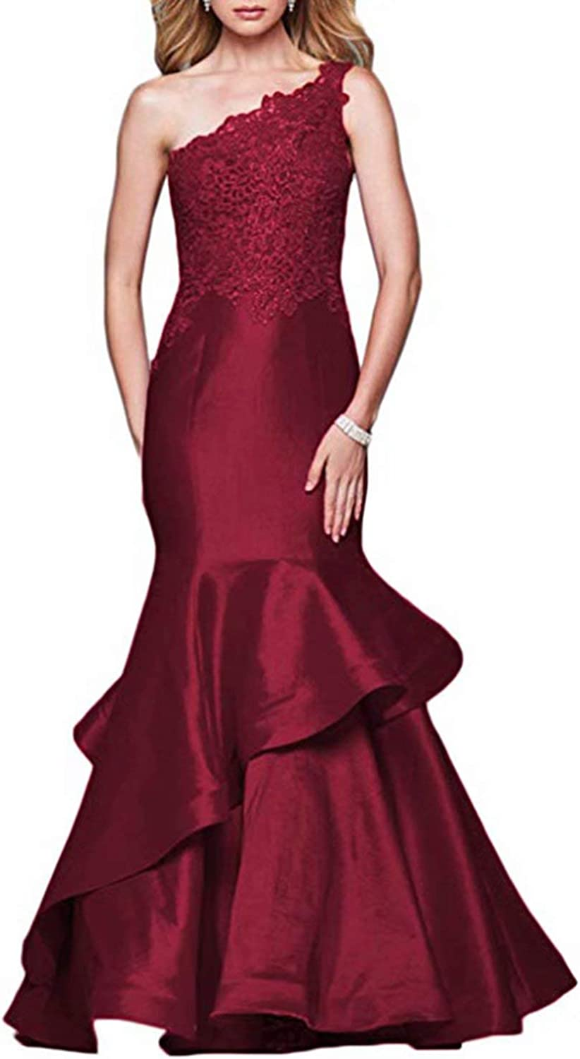 Scarisee Womens Mermaid OneShoulder Lace Prom Evening Party Dresses RufflesA217