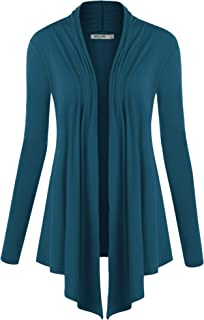 Women's Basic Draped Long Sleeve Open Front Knit Cardigan S - XXXL Plus Size - Made in U.S.A.