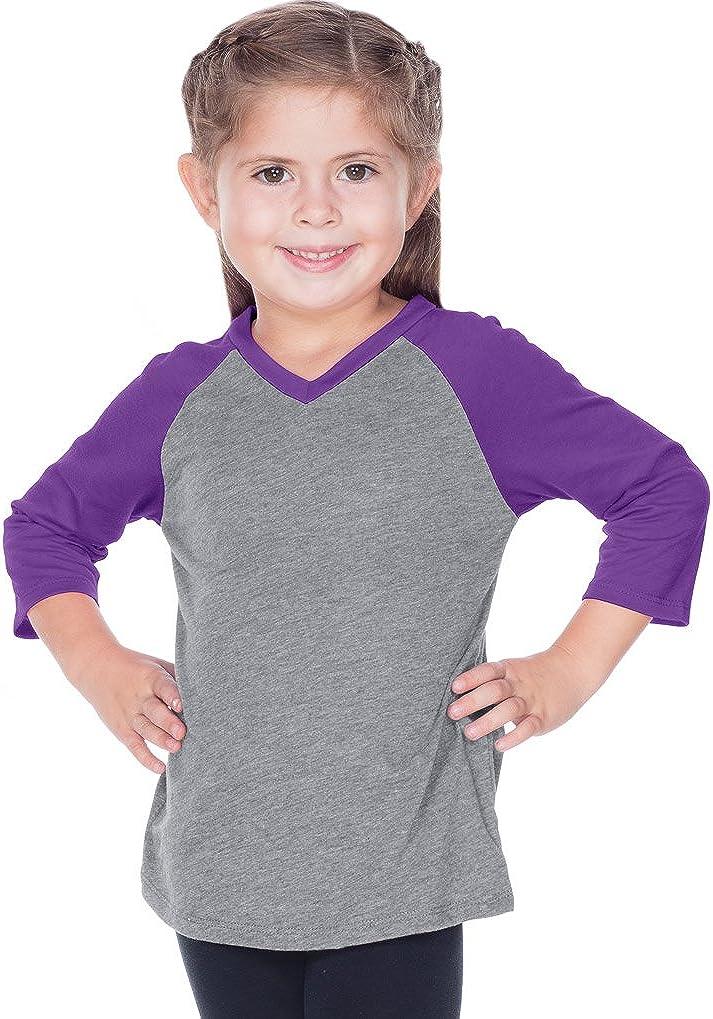 Kavio! Little Girls 3-6X Sheer Jersey Contrast V Neck Raglan 3/4 Sleeve