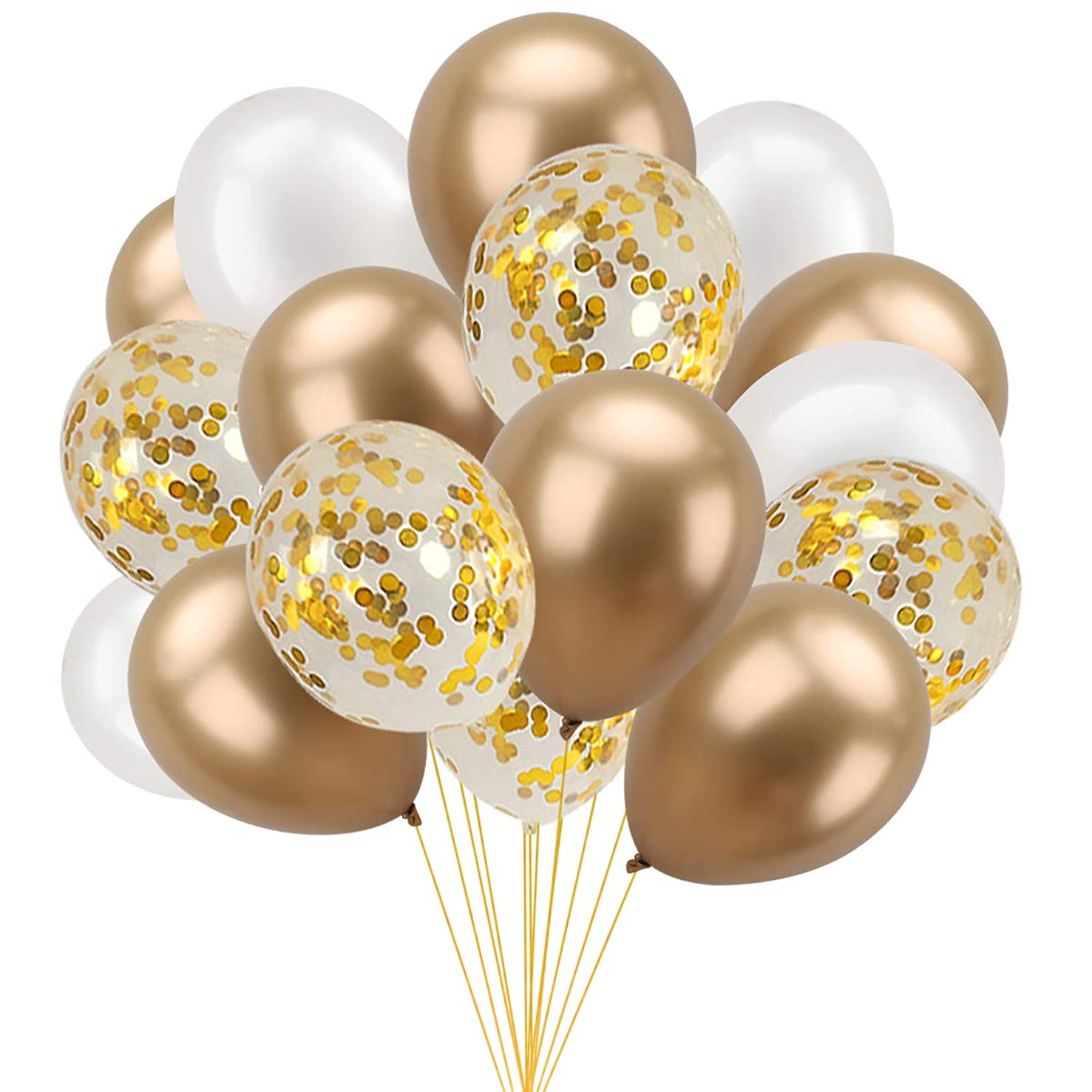 Chrome Gold Confetti Pearl Balloons - 37Pcs - 12 Inches Party Decoration Balloons   12 Gold Metallic Balloons   12 Gold Confetti Balloons   12 White Balloons   1 Ribbon, Great for Birthday Baby Showe