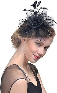 Zoestar Black Tea Party Fascinators Flower Mesh Hair Clip and Headband Feather Fascinator Top Hatfor Women (Black)