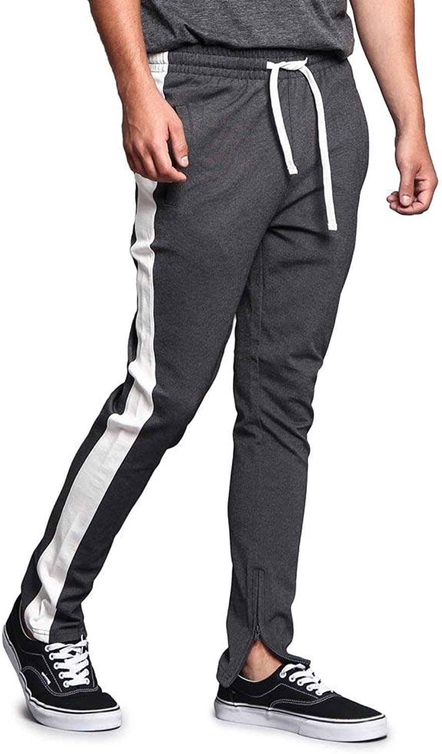 GStyle USA Men's Side Stripe Ankle Zip Drawstring Premium Trackpants