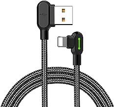Mcdodo Cable USB Lightning y adaptador con sincronización de datos para Apple iPhone 4 x 8 3/6 Plus, iPad e iPod (LED en forma de L, ángulo recto de 90 grados) 1.8m Negro