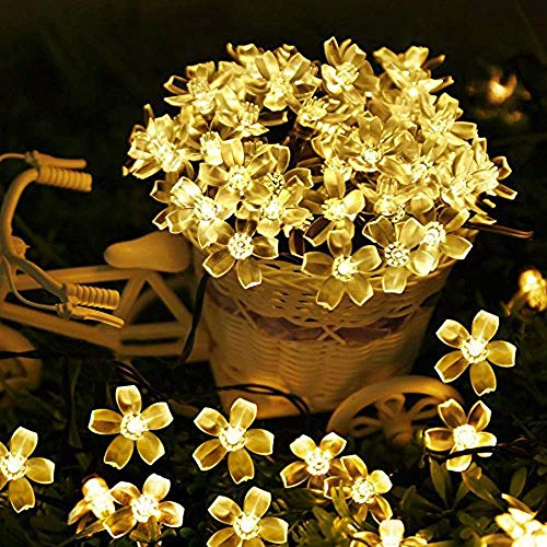 Solar String Lights Outdoor Solar Patio Lights 8 Modes Solar Powered Fairy String Lights, Waterproof String Lights for Patio, Lawn, Garden, Wedding, Party, Holiday Decor (50 LED Warm White Flower)