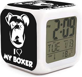 COOLGOOD I Love My Boxer Dog LED Power Saving Alarm Clock Soft Lighting Suitable Office