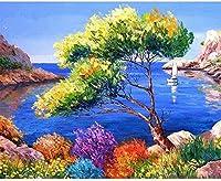 海の小さな木の花大人のための番号によるDIYペイント初心者の油絵キャンバスアートアクリルリビングホームウォールデコレーション40x50cmフレームレス