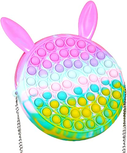 BTSRPU 1Pcs Fidget Sensory Toy Shoulder Bags, Shoulder Bag and Cute Push Bubble, Push Bubbles it Handbag, Stress Anxiety Relief, Fashion Creative Diagonal Bag, Removable Shoulder Strap
