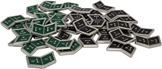 Set of 40 Metal Buff Counters, Token, Creature Stats or Loyalty, Double Sided +1/+1 and -1/-1 for CCG, MTG Magic: The Gathering, 20 Black and 20 Green Enamel (Golgari)