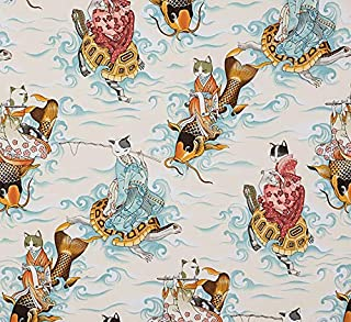 Cat Fabric - Feline Fisherman - Parchment - 100% Cotton - by The Yard