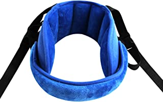 KAKIBLIN Adjustable Toddler Car Seat Head Support Band, Carseat Straps Cover, Safety Car Seat Neck Relief, Blue
