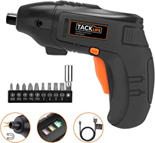 Electric Screwdriver, Tacklife Cordless Screwdriver Rechargeable 1500 mAh Li-on Battery with 10 Pcs Bonus Screw Bits for Home DIY and Fit for Ladies, Newbies and Experienced, Front LED Light-SDP60DC