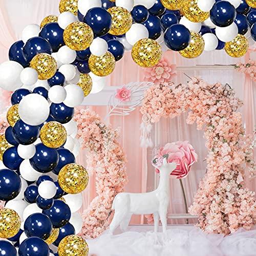 GRESAHOM Kit de guirnalda de globos, 122 unidades, azul marino, oro blanco, látex. Kit de arco con globos de confeti dorados, ideal para cumpleaños, bodas, fiestas de bebé