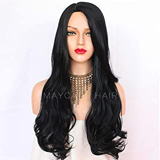 Maycaur Black Long Body Wave Synthetic Hair Wigs For Black Women 180% Density Glueless Wavy Wigs