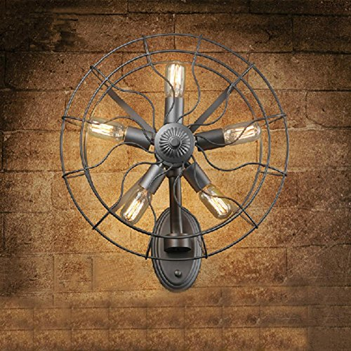 H&M Applique Murale Vintage industrielle vent Europe intérieure en fer forgé Fan Wall lamp
