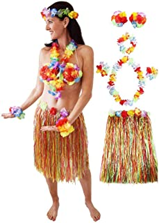 Hawaiian Hula Costume for Women and Girls, Hawaiian Party Costume, Luau Outfit, Hula Party Costume, Grass Skirt