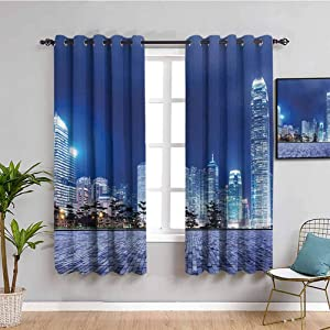 Urban Home Decor Sliding Door Curtains Hong Kong Skyline Night Architectural Cityscape Skyscrapers Modern Photo Easy to Install W63 x L63 Inch Royal Blue Purplegrey