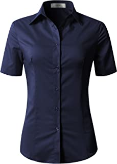 EZEN Womens Slim-Fit Tailored Long Sleeve Basic Simple Button-Down Shirt Stretch