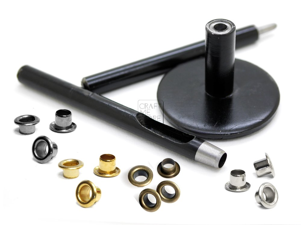 CRAFTMEMORE Set of Eyelet Grommet Setter Indianapolis Mall Tool Ho Punch Anvil Sale item and