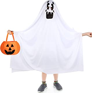 Shinymoon Ghost Halloween Costumes White Ghost Cloak Halloween Ghost Cosplay Role Play Child Costume Pumpkin Candy Bag for...