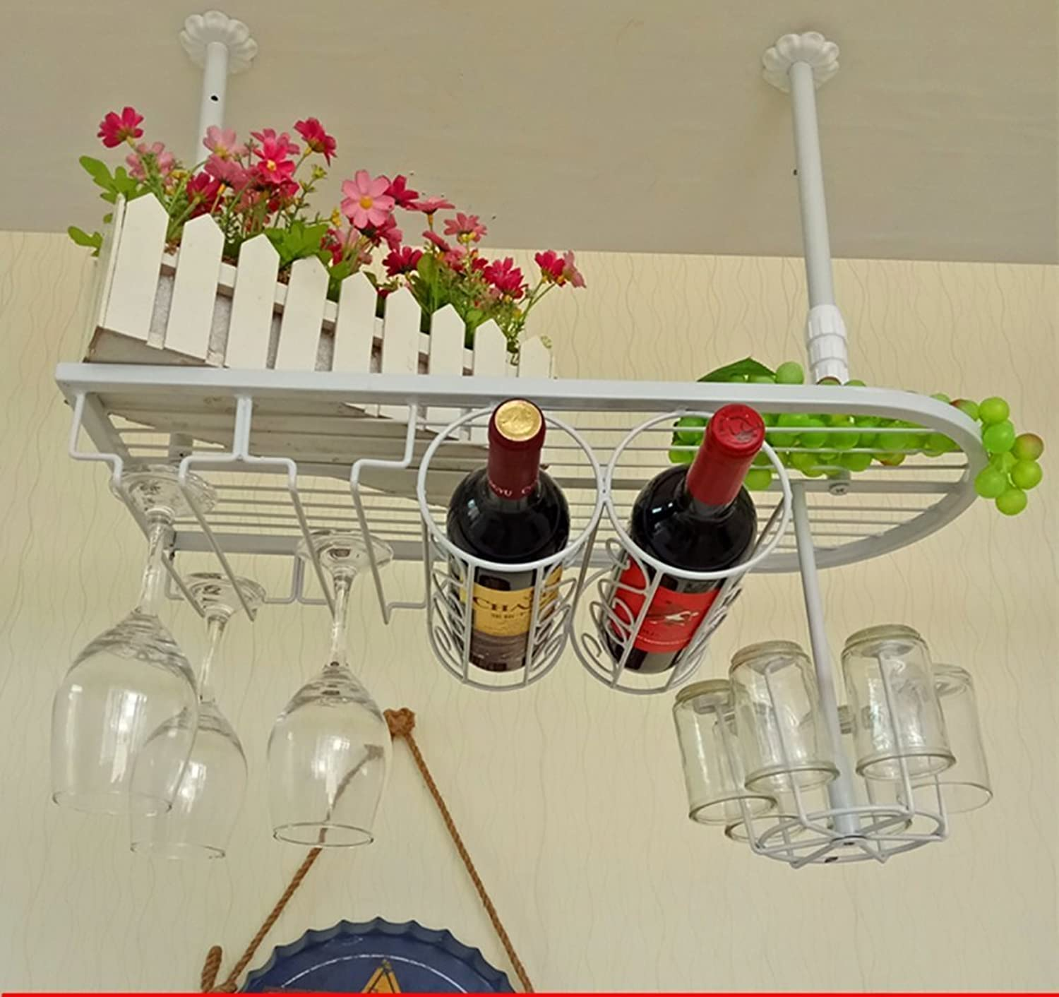 Red Wine Shelf Wrought Iron Black White Bronze Suspension Telescopic Hanger 3 colors 3 Multi-Function Applicable to Most Wines goblets Glasses Green Plants 3 Bottles of Wine Hanging 6 Glasses
