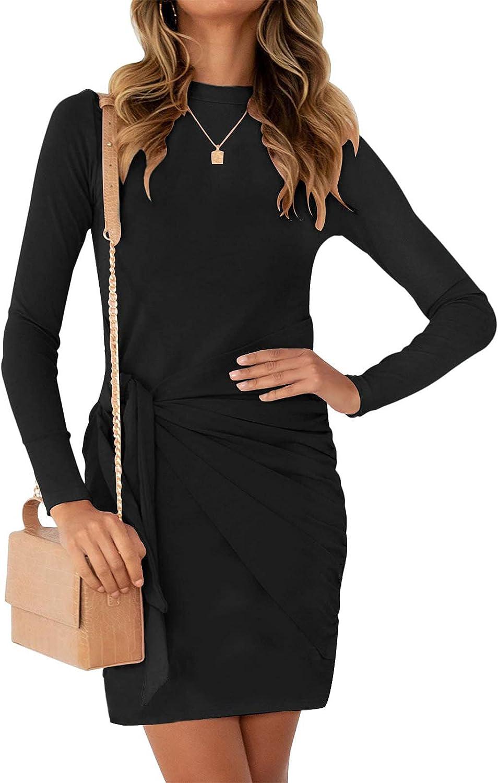 MEROKEETY Women's Long Sleeve Tie Waist Mini Dress Casual Crewneck Ruched Bodycon Short Dresses