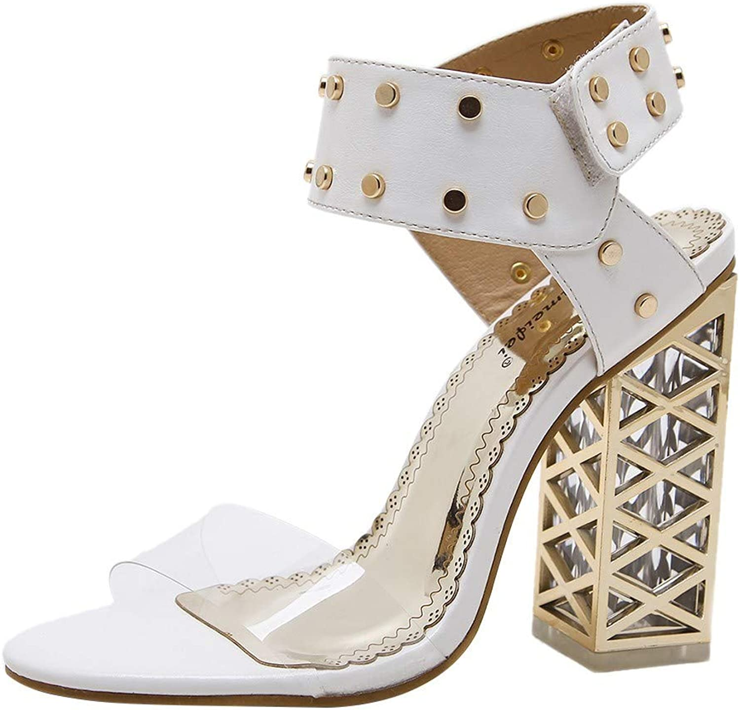 Staron Women's Rivets Open Toe Strappy High Heel Casual Crystal Hollow Fashion Sandals Formal Party Chunky Dress Heel