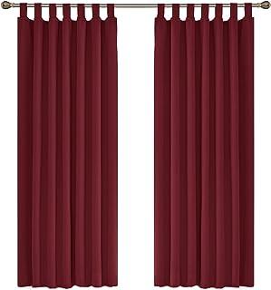 UMI. by Amazon - Cortinas Opacas Lisas con Trabillas y Aislamiento térmico, 140 x 175 cm (Rojo, 2 Paneles)