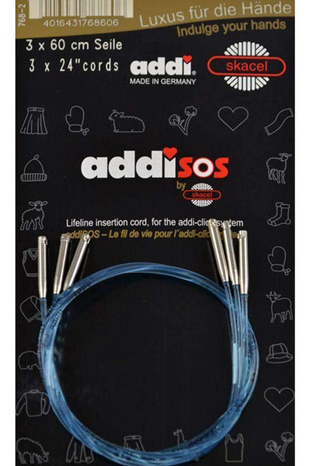 addi Click Interchangeable Knitting Needle SOS Skacel Exclusive Blue Cords 24 inch (60cm) 3-Pack Without Connectors
