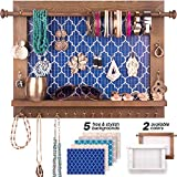 Bdot Hanging Jewelry Organizer Wall Mounted-Rustic Wooden Jewelry Hanger, Bracelet Earring Holder, Wall Necklace Storage Organizer