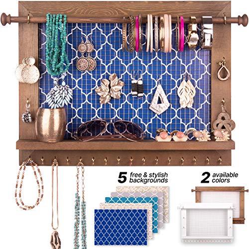 BDOT - Organizador de joyas para colgar en la pared – Percha de madera rústica para joyas, pulseras, pendientes, colgadores de pared, collar, organizador de almacenamiento, decoración de recámara boho