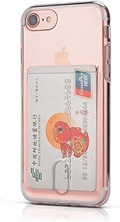 Wormcase® Kunststoffhülle mit Kartenfach kompatibel mit iPhone SE (2020) und 7/8   Farbe Transparent   TPU Schale Back Cover Schutz Tasche Kratzfest Stoßfest Bumper Crystal Clear dünn leicht schmal