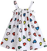 Fossen Vestidos Bebé Niña Verano Falda de Chaleco con Estampado de Amor y Rayas de Dibujos Animados sin Mangas Vestido de Princesa Ropa Bebe Niña (6M-4Y)