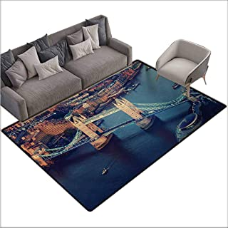 Children's Rug London London Aerial View with Tower Bridge at Sunset Internatinal Big Old UK British River Easy to Clean Carpet W70 xL94 Multicolor