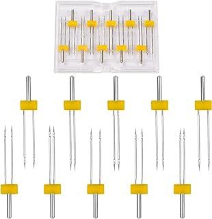Changrongsheng Aiguilles Doubles pour Machine à Coudre en 10 Tailles Mixtes 2/90, 3/90, 4/90, 2/80, 3/80, 4/80, 2/75, 3/7...
