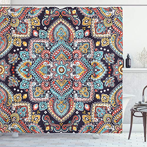 """Ambesonne Ethnic Shower Curtain, Bohemian Style Motif Vintage Oriental Inspired Traditional Art, Cloth Fabric Bathroom Decor Set with Hooks, 70"""" Long, Navy Teal"""