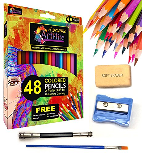 Professional Colored Pencils for kids, Colored Pencils for Adults, 48 PC Adult Colored Pencils Pre Sharpened Color Pencil, Pastel Colored Pencils, Colored Pencils with Sharpener + Extra Art Supplies