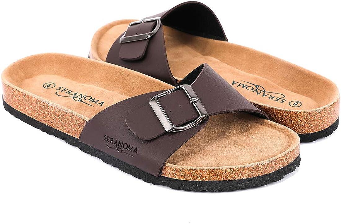 Seranoma Women's Open Toe Adjustable Buckle   Slip On Slide   Flat Footed Cork Sandal   Comfortable Footbed   Metal Buckle