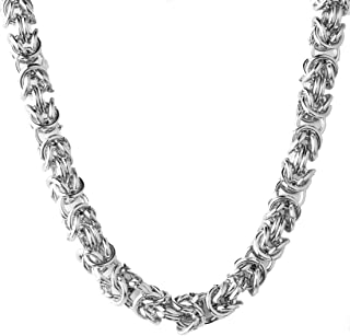 Men Stainless Steel Silver Color Byzantine Bracelet Necklace Chain Link Length 7-40 inches,Width 6mm 8mm 10mm