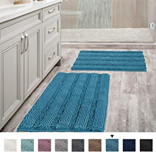 Bathroom Rugs Slip-Resistant Extra Absorbent Soft and Fluffy Thick Striped Bath Mat Non Slip Microfiber Shag Floor Mat Dry Fast Waterproof Bath Mat (Set of 2-20