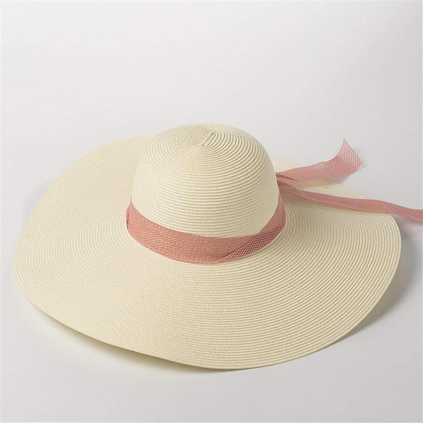 是正する振動させる取得するファッションメッシュ弓ビッグ麦わら帽子女性屋外旅行日焼け止め日焼け止めビッグビーチ麦わら帽子