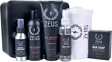 ZEUS Daily Natural Body Care Set - Hair Shampoo, Hair Conditioner, Bar Soap, Aluminum Free Deodorant, Eucalyptus Steam Mist, and Towel