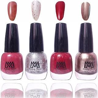 Makeup Mania Premium Nail Polish Exclusive Nail Paint Combo (Silver Glitter, Grey, Maroon, Mauve, Pack of 4)