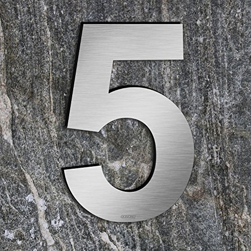 qoboob® Edelstahl Hausnummern 5 Fünf Straße Nummer Fein gebürstet Silber 200mm (1 Stück)