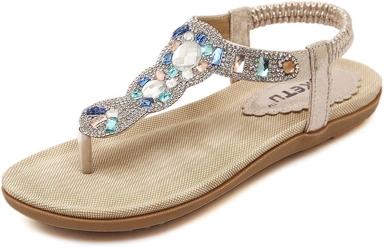 Flat Flip Flops Sandals for Women with Flowers Comfort Platform Elastic Summer Beach