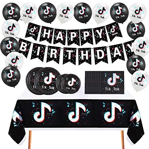 Howell TikTok Birthday Party Supplies Set, Including - TikTok Happy Birthday Banner, TikTok Balloons, Party Plates, Napkins, Table Cloth Tableware Set for Short Video/Music Karaoke/Social Media Party/Boys Girls Party Decorations