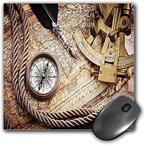 Mauspad-Spielfunktion Kompass Dicke wasserdichte Desktop-Mausmatte Weinlese-Navigations-Reise-Thema-Lebensstil-Bild mit Sextant-und Kompass-Entdeckungs-Werkzeugen,Cremerutschfeste Gummibasis