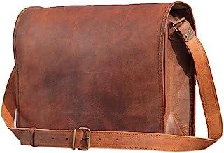 TUZECH Genuine Leather Bag Handmade Vintage Rustic Cross Body Messenger Courier Satchel Bag Gift Men Women Its Laptop Up t...