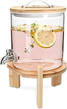 Navaris Dispensador de Bebidas de Cristal - con Cap. para 5 litros y Grifo - con Soporte y Tapa de Madera para Bebidas Calientes o frías - Sin BPA